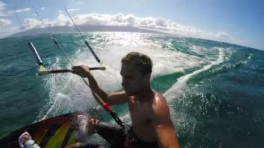 Slow Motion Kite Surfing — Stock Video