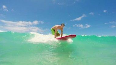 Longboard Surf Hawaii — Stock Video