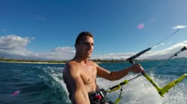 Young Man Kitesurfing in Ocean — Stock Video