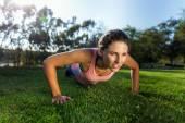 Vinyasa flow yoga teacher strength power interval training beautiful attractive female — Stock Photo