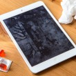 Smart tablet cell phone spreads common cold flu from not clean dirty hands spreading germs and bacteria — Stock Photo #80086560