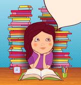Klein meisje huiswerk. — Stockvector