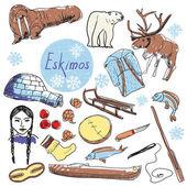 Vector set of tourist attractions Eskimos. — Stock Vector