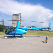 Blue helicopter in Vilnius — Stock Photo