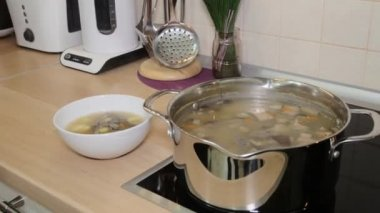 Ready-made mushroom soup on the stove and in the plate — Stock Video