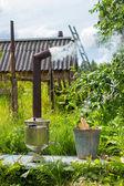 Samovar na madeira da casa de Vila Jardim — Fotografia Stock