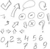 Set of info chart doodle — Stock Vector