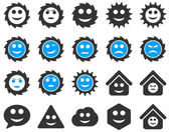 工具、歯車、笑顔、感情アイコン — ストックベクタ