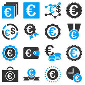Euro banking business and service tools icons — Vector de stock