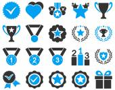 Competizione e successo icone Bicolor — Vettoriale Stock