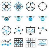 Quadcopter navigation icon set — 图库矢量图片