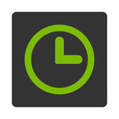 Clock flat eco green and gray colors rounded button — Stock Photo