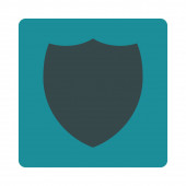 Shield flat soft blue colors rounded button — Stock Photo