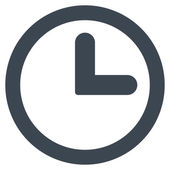 Clock flat smooth blue color icon — Stock Photo