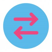Flip Horizontal flat pink and blue colors round button — Stock Photo