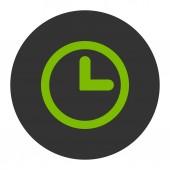 Klok platte eco groen en grijs kleuren ronde knop — Stockfoto