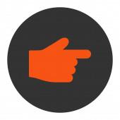Zeigefinger flach orange und graue Farben runden Knopf — Stockfoto