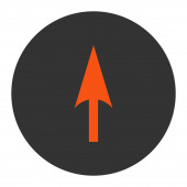 Arrow Axis Y flat orange and gray colors round button — Stock Photo