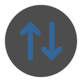 Flip flat cobalt and gray colors round button — Stock Photo
