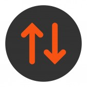 Flip flat orange and gray colors round button — Stock Photo