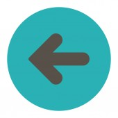 Arrow Left flat grey and cyan colors round button — Stock Photo