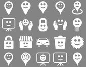 Tools, options, smiles, objects icons — Stock Vector
