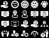 Tools, gears, smiles, map markers icons. — Stock Photo