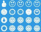 Configuración e iconos de engranajes de sonrisa — Vector de stock