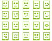 Emotion mobile tablet icons — Stock Vector