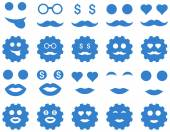Tool, gear, smile, emotion icons — Stock Vector