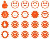 Settings and Smile Gears Icons — Stock Vector