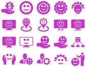 Tools, gears, smiles, map markers icons. — Stock Vector