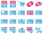 Shopping and bank card icon set — Stock Photo