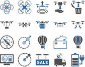 Air drone and quadcopter tool icons — Stock Vector