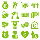 Euro banking business and service tools icons — Stock Vector