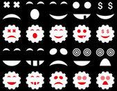Ferramenta, engrenagem, sorriso, ícones de emoção — Vetor de Stock