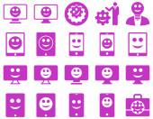 Инструменты, варианты, улыбки, отображает значки устройств — Стоковое фото