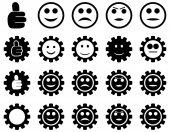 Einstellungen und Lächeln Gears Icons — Stockfoto