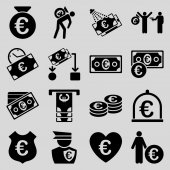 Euro banking business and service tools icons — Stock Photo
