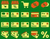 Shopping and bank card icon set — Stock Vector