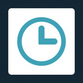 Clock flat blue and white colors rounded button — Stock Photo