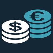Coins dollar euro icon — Stock Vector