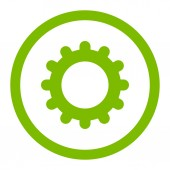 Gear flat eco green color rounded raster icon — Stock Photo