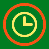 Clock flat orange and yellow colors rounded vector icon — Stock Vector