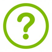 Question flat eco green color rounded raster icon — Stock Photo