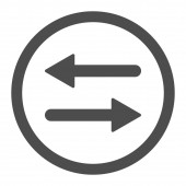 Arrows Exchange flat gray color rounded raster icon — Stock Photo