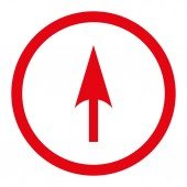 Arrow Axis Y flat red color rounded raster icon — Stock Photo