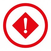 Error flat red color rounded raster icon — Stock Photo