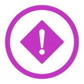 Error flat violet color rounded raster icon — Stock Photo