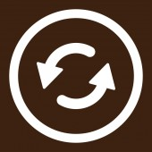 Refresh Ccw flat white color rounded raster icon — Stock Photo